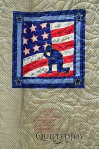 Carol was moved to make this quilt following the attacks on 9/11. Fifteen years later it's finally complete.