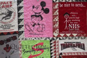 Jamie's T-shirt quilt for her niece, Kelsey, blends a wonderful selection of T-shirts with creative sashing and a lovely backing fabric in a heartfelt gift.