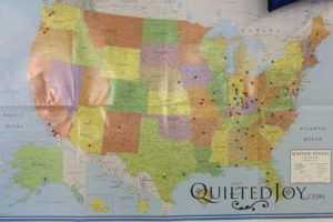 Map with dots for all the Row by Row visitors at Quilted Joy