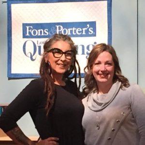 Angela Huffman and Karen McTavish on the set of Fons & Porter's Love of Quilting
