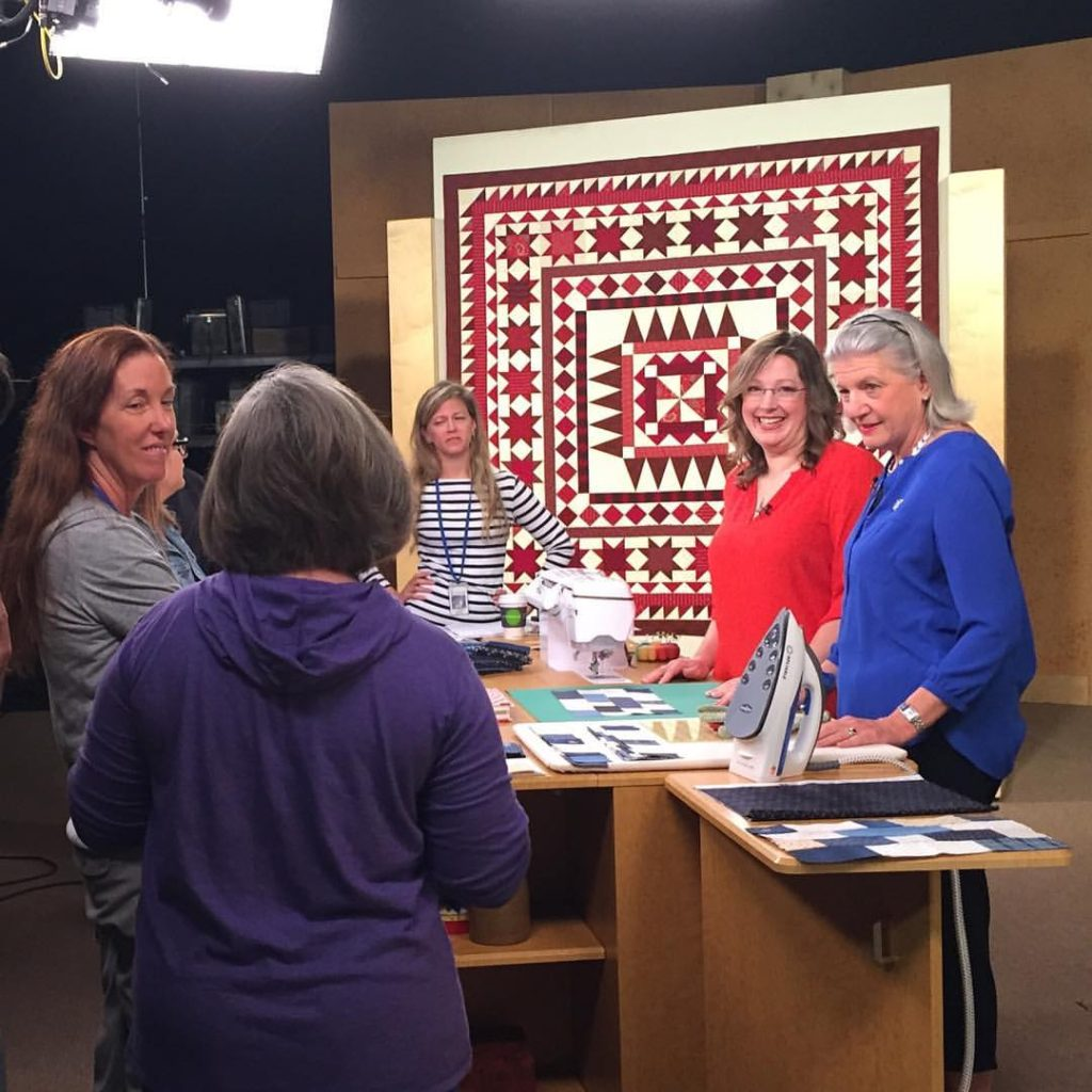 Angela Huffman and Marianne Fons on the set of Fons & Porter's Love of Quilting