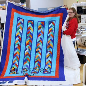 Vivian French Braid Quilt with stipple quilting at Quilted Joy