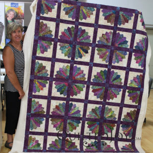 Connie's Grandmother's Fan quilt, quilted at Quilted Joy