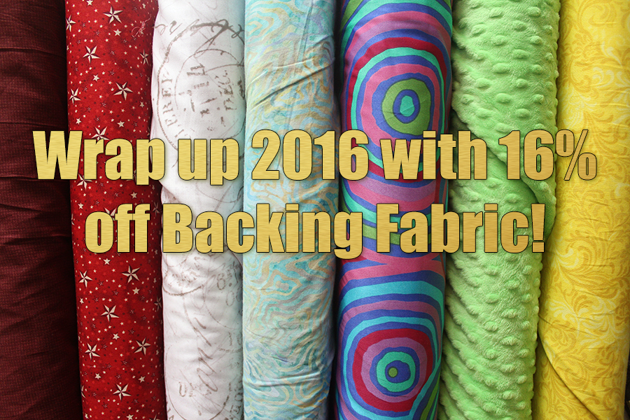 Wrap up 2016 with 16% off backing fabrics at QuiltedJoy.com