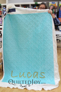 Dorothy's microfleece baby quilt for her grandson! Quilted at Quilted Joy in Louisville, KY