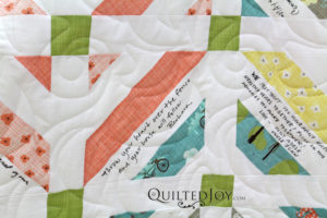Alice made a signature quilt as a wedding gift