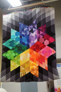 Debbie's Gravity block of the month quilt on display at Quilted Joy