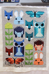 Elizabeth Hartman's Fancy Forest pattern is so cute! Colleen quilted this wallhanging with the Limetree pantograph at Quilted Joy