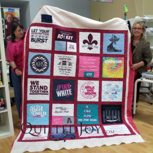 Pam made this T-shirt quilt for a recent graduate of Assumption High School. She quilted it with the Turbulance pantograph at Quilted Joy