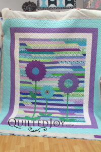 Jelly Roll Quilt with Applique Dresden Plate Flowers