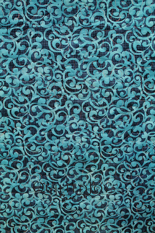 """Filigree Turquoise 108"""" wide quilt backing fabric"""