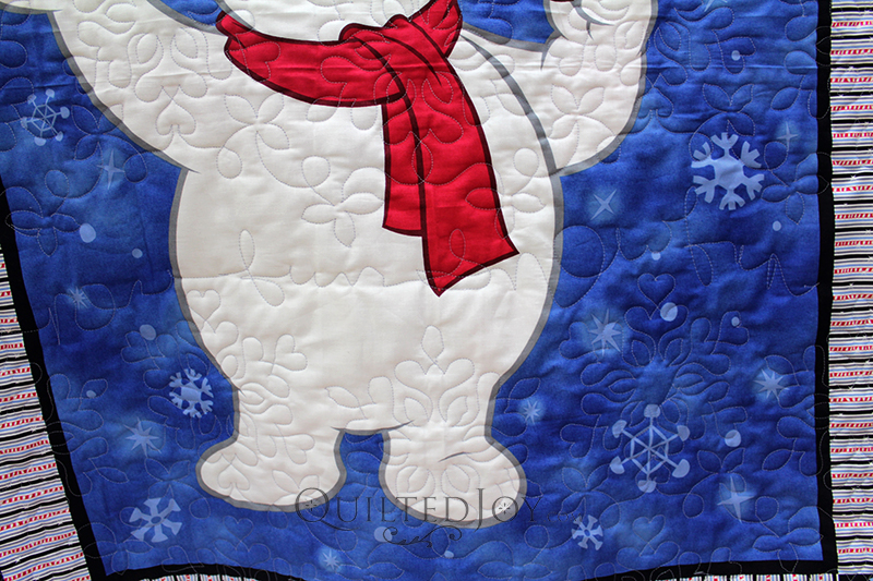 """Julie was so clever and added this fun quilted touch to her quilt, quilting out the words """"snow"""" and """"fun""""!"""