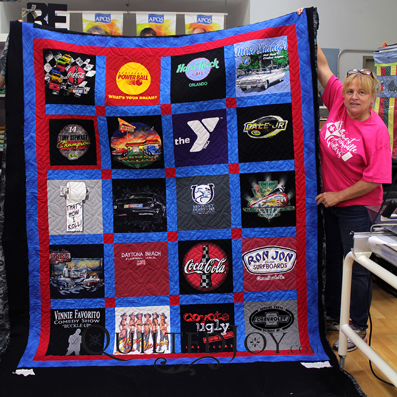 Nancy made this T-shirt quilt for her husband. She quilted this with the Square Spiral pantograph.