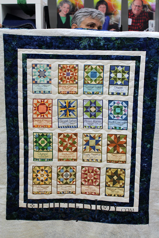 Colleen made this National Parks Quilt wall-hanging with fabrics she collected at the National Parks she visited during their 100th anniversary celebrations.