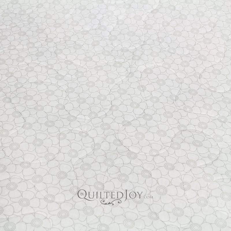 "108"" Wideback Tone on Tone Flower Grey on White"