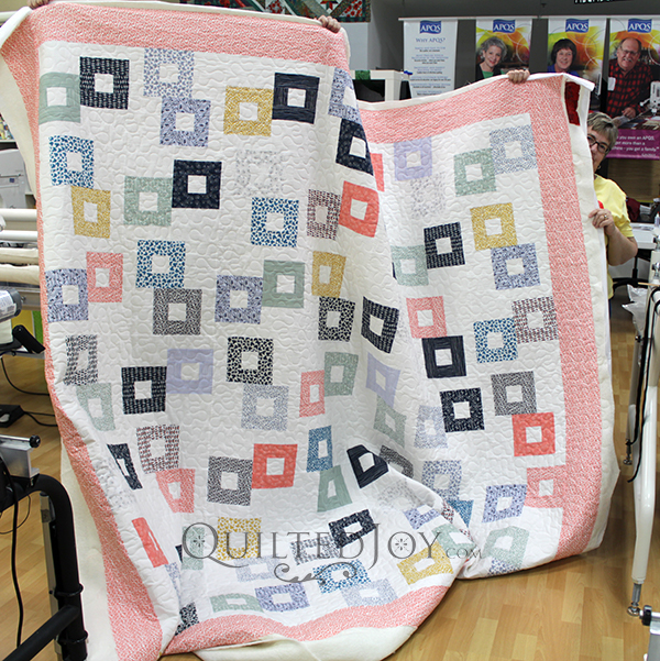 Margie's massive quilt with lots of random squares