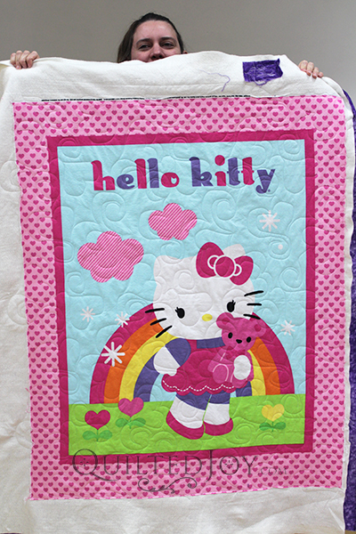 Rena quilted this sweet Hello Kitty panel quilt for her daughter. The hearts quilting was the perfect touch!