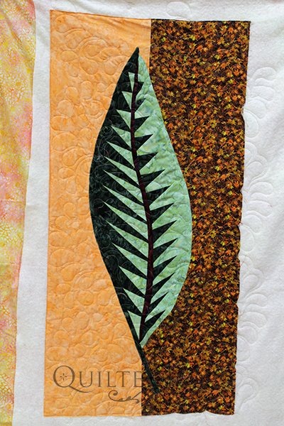 Debbie quilted her class sample for a beginning paper piecing class at Quilted Joy.