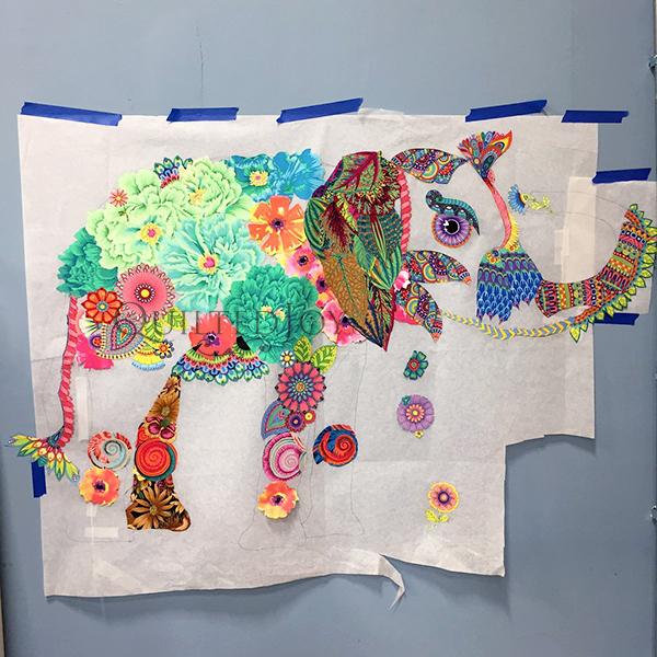Lulu Elephant, a Laura Heine Fabric Collage Quilt