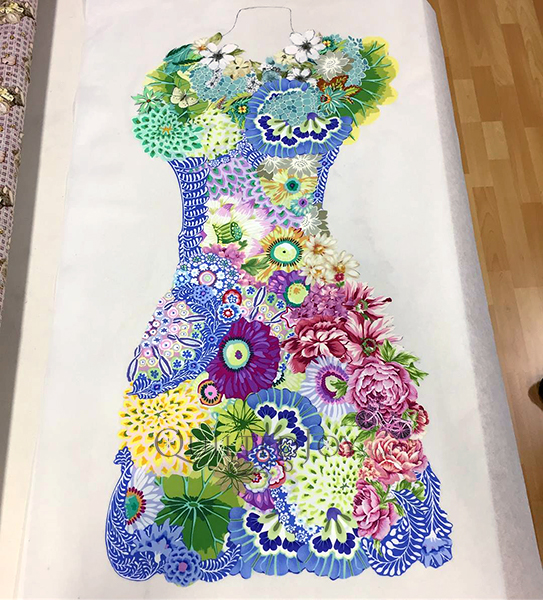 Perfect Form, a Laura Heine Fabric Collage Quilt