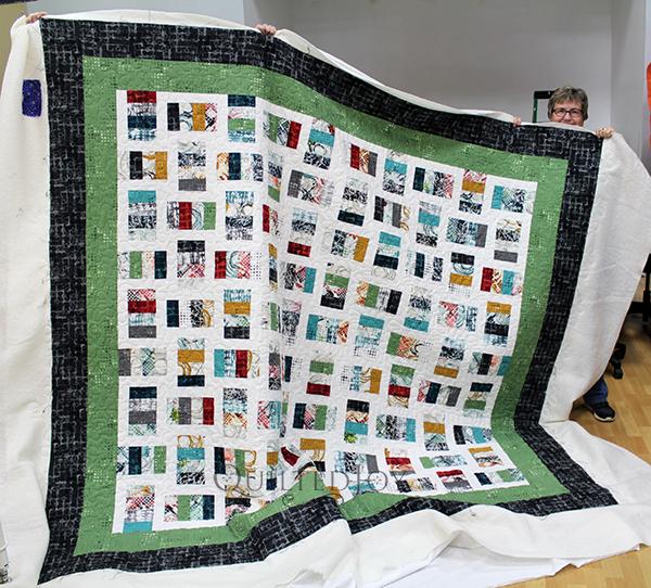 Margie's take on the modern split rail quilt.