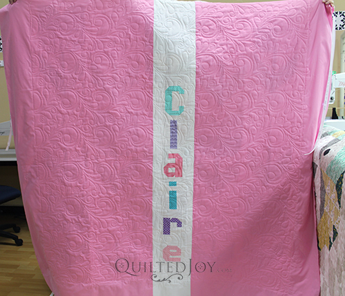 Add baby's name to the backing fabric to make the quilt extra special!
