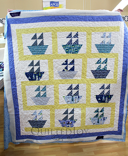 Pam's sailboat quilt for a baby boy.