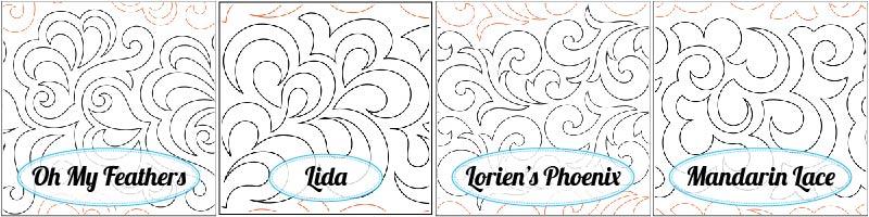Oh My Feathers Paper Pantograph, Lida Paper Pantograph, Lorien's Phoenix Paper Pantograph, and Mandarin Lace Paper Pantograph