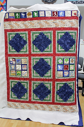 Angela's baseball quilt, quilted at Quilted Joy