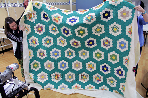 Marie's vintage Grandmother's Flower Garden Quilt