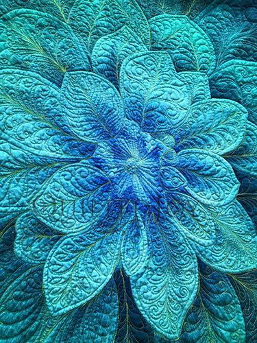 Quilted Teal Dream Big Flower Panel by Angela Huffman