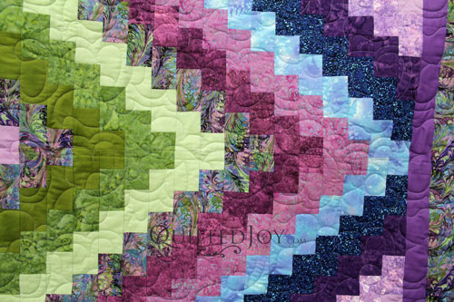 Purple, Blue, and Green Trip Around the World Quilt