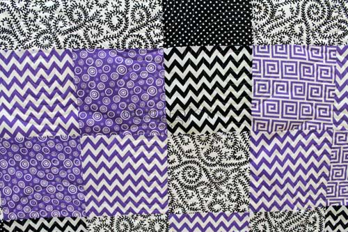 Gail's black, white, and purple layer cake quilt, quilted with a spiral design board at Quilted Joy