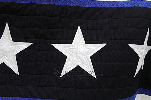 Judy's Longarm Quilting Treatment for the Stars on her Thin Blue Line Quilt