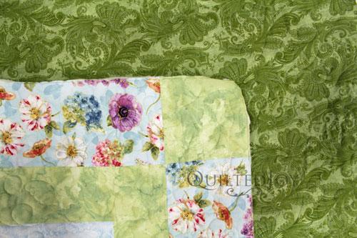 """Marrakesh 108"""" Light Green Backing Fabric on Mary Jo's Sampler Quilt"""