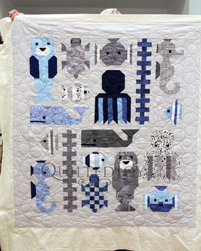 Valerie's Awesome Ocean Quilt, quilted with the Bubbles Design Board