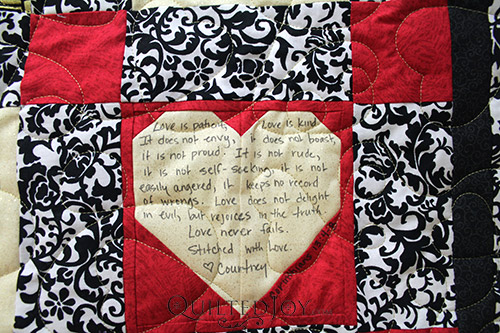 1 Corinthians 13: 4-8 on Courtney's Signature Wedding Quilt