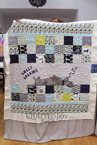 Free Motion Quilting is Fun on Judy's Sweet Dreams Puppy Applique Quilt, quilting on a longarm quilting machine