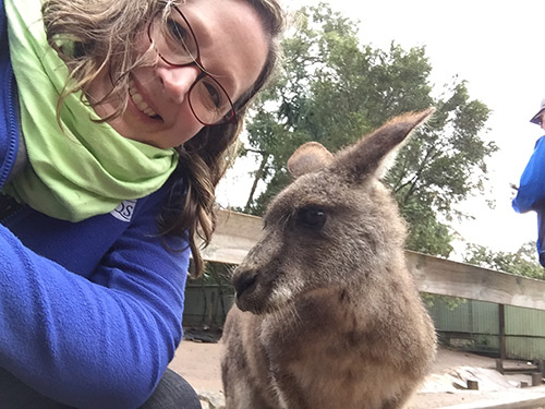 Angela Huffman and a Wallaby