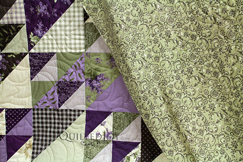 Beverly's Half Square Triangle Quilt with Tonal Scroll Backing Fabric