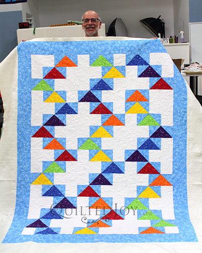 Our Longarm Renters Are Quilting Half Square Triangles And Flying Geese Quilted Joy