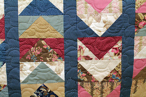 Longarm Quilting on Danielle's Layer Cake Flying Geese Quilt