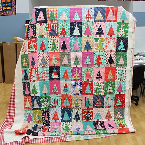 Erin's Christmas Quilt, the Modern Christmas Tree Block Quilt by Diary of a Quilter