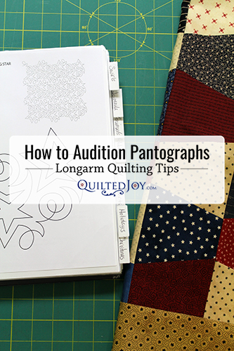 """How to Audition Pantographs - Longarm Quilting Tips - QuiltedJoy.com"""