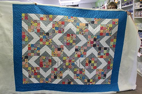 Margie's Sunny Skies Quilt after her Longarm Quilting Machine Rental