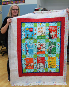 Mary's Dr. Seuss Quilt after renting a longarm quilting machine at Quilted Joy