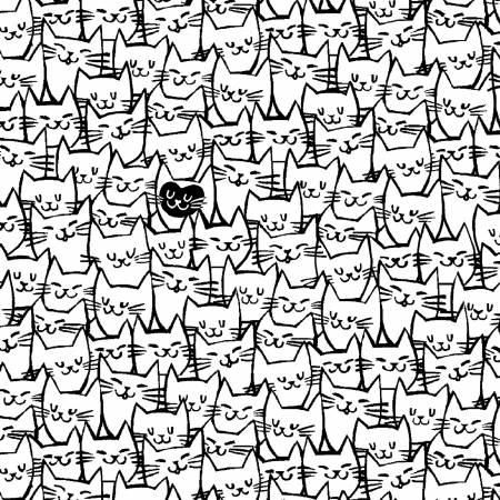 White Packed Cats by Windham Fabrics. 51120-1, 193035008278. Available at Quilted Joy.com.