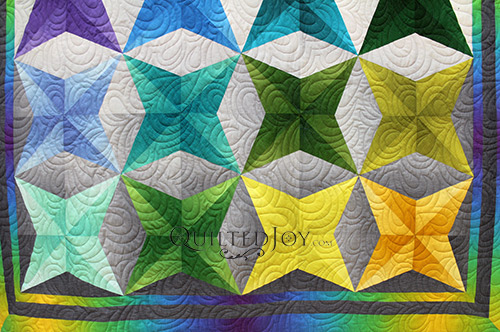Arlene's Ombre Stars Quilt, quilting by Angela Huffman