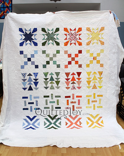 Emily's Quilt after longarm quilting at Quilted Joy