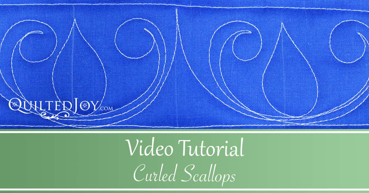 """Video Tutorial Curled Scallops"" Learn how to quilt the curled scallops quilting design"